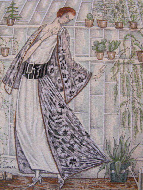 """Paul Zenker - """"Le Cactus Épineux"""" - Gravure mode, 1921 - Gazette du bon ton"""