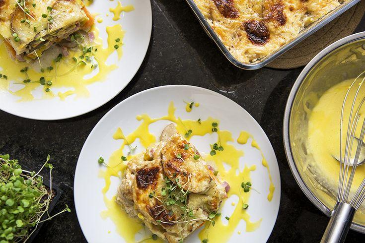 Gratin étagé de patates douces, poireau et jambon #recettesduqc #gratin #accompagnement #repas