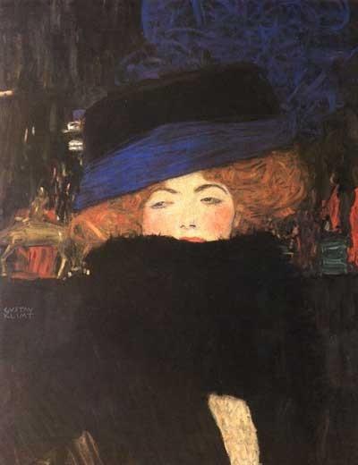 Dame Au Chapeau et Boa de Plumes - Gustav Klimt