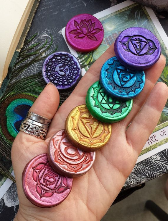 XL Meditation Medallions - Essential Oil Scented Sanskrit Chakra Symbol & Flowering Lotus Sets for Your Sacred Space, Meditation Practice