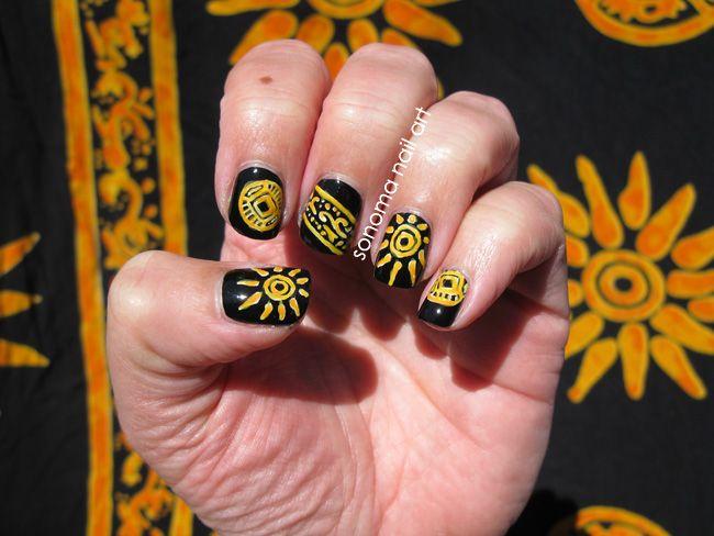 Bahamas Sun Nail Art. Yellow tribal sun nail art on black. - 61 Best Summer Nail Art Images On Pinterest Summer Nail Art