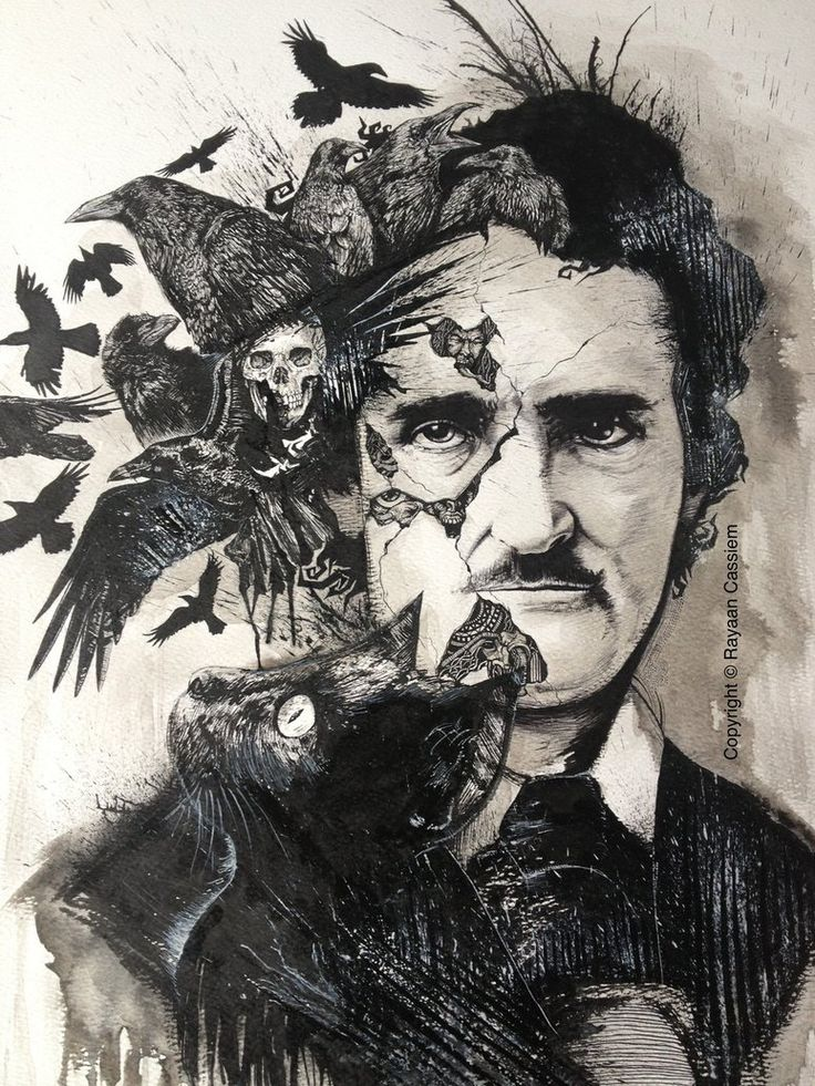 Black india ink tribute to the master of horror fiction and prose - Edgar Allan Poe. This portrait formed part of my solo exhibition - INTRINSIC.