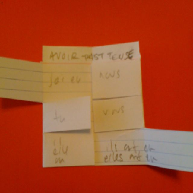 French conjugations using an index card-- fold in half width wise, bring the left side to the middle and crease. Do the same on the right. Cut out the section from the pink title line out, then make two cuts to make three equal sized fields to write in.