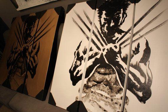 Black White LOGAN Wolverine Movie Poster Panel Calligraphy Brush Painting Memorabilia Marvel X-men Wolverine Origins LOGAN Triptych Wall Art