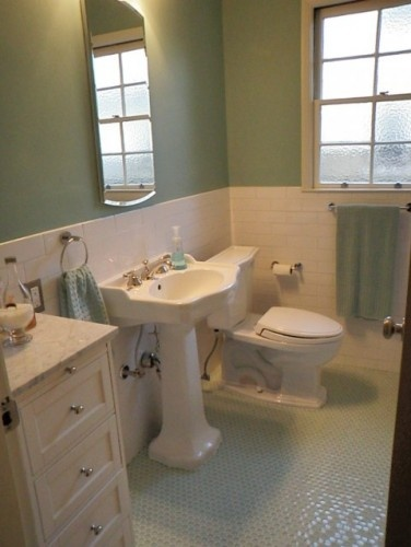 1940u00273 bath room up date with glass penny round floor and white subway wall