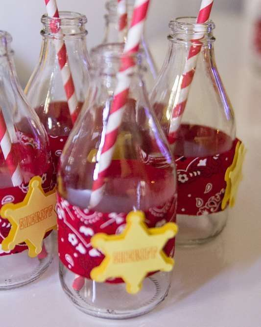 Woody's drinks at a Toy Story birthday party! See more party ideas at CatchMyParty.com!