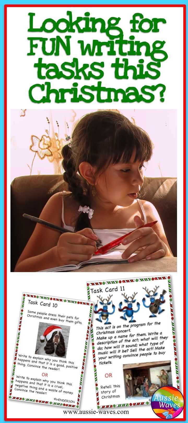 Ideas for Christmas Writing at School. Printable task cards to inspire kids to be creative with writing.