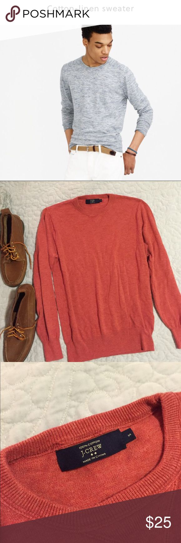 J Crew men's crew neck sweater (red) 100% cotton / men's crew neck sweater in RED🔴 (‼️not the color seen on model in first picture - Please view the second picture to see color of this item‼️) J. Crew Sweaters Crewneck