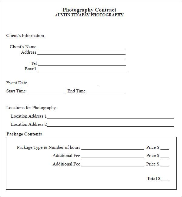 Photography Contract - 7 Free PDF Download Sample Templates