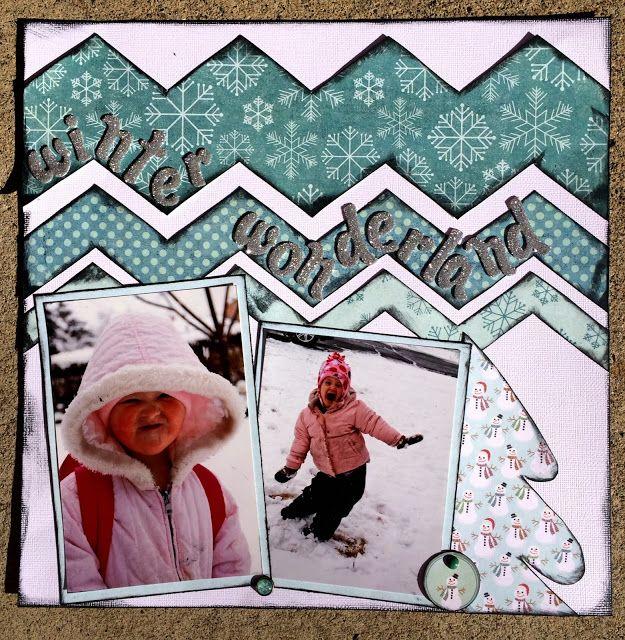 Wonderful Wintery layout by Staci Jones using the Chevron Template set found along the January Blog Hop.