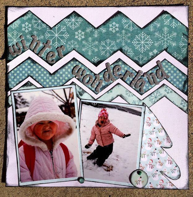 Wonderful Wintery layout by Staci Jones using the Chevron Template set found along the January Blog Hop.