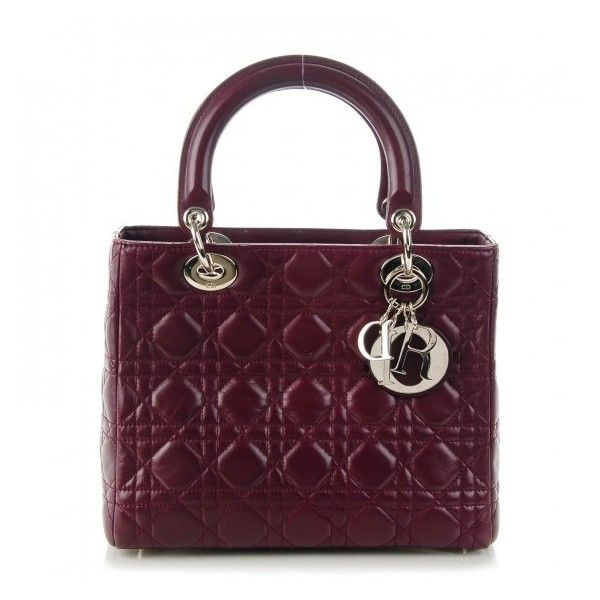 CHRISTIAN DIOR Lambskin Cannage Medium Lady Dior Burgundy ❤ liked on Polyvore featuring bags, handbags, burgundy handbag, monogrammed handbags, christian dior purses, man shoulder bag and shoulder handbags