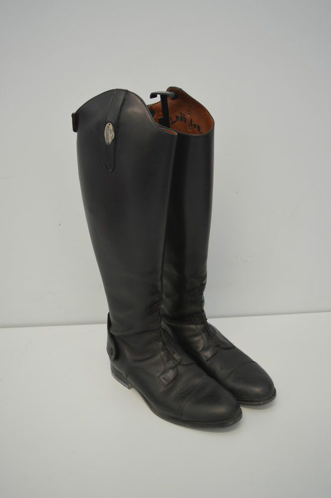 Stivali da equitazione in cuoio colore nero equestrian apertura cerniera n.43