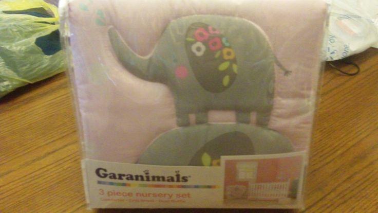 NEW GARANIMALS 3 Piece Nursery Set Little Elephants Comforter Crib Sheet Ruffle