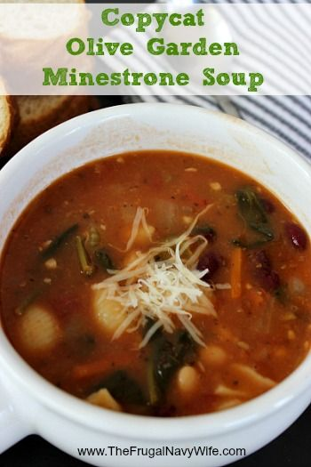 Frugal Copycat Olive Garden Minestrone Soup - Make this favorite Olive Garden soup at home and save money! Great for frugal date nights!