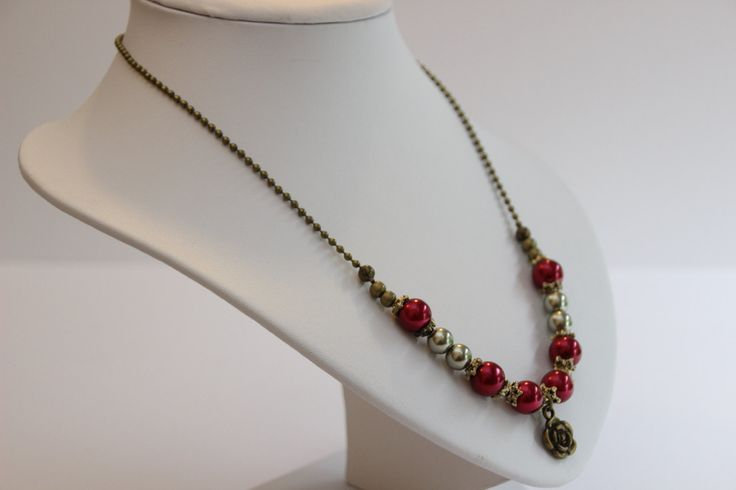 Unique and elegant pearl beaded necklace with exquisite bronze rose pendant. Free delivery in Australia by 4Dignity on Etsy