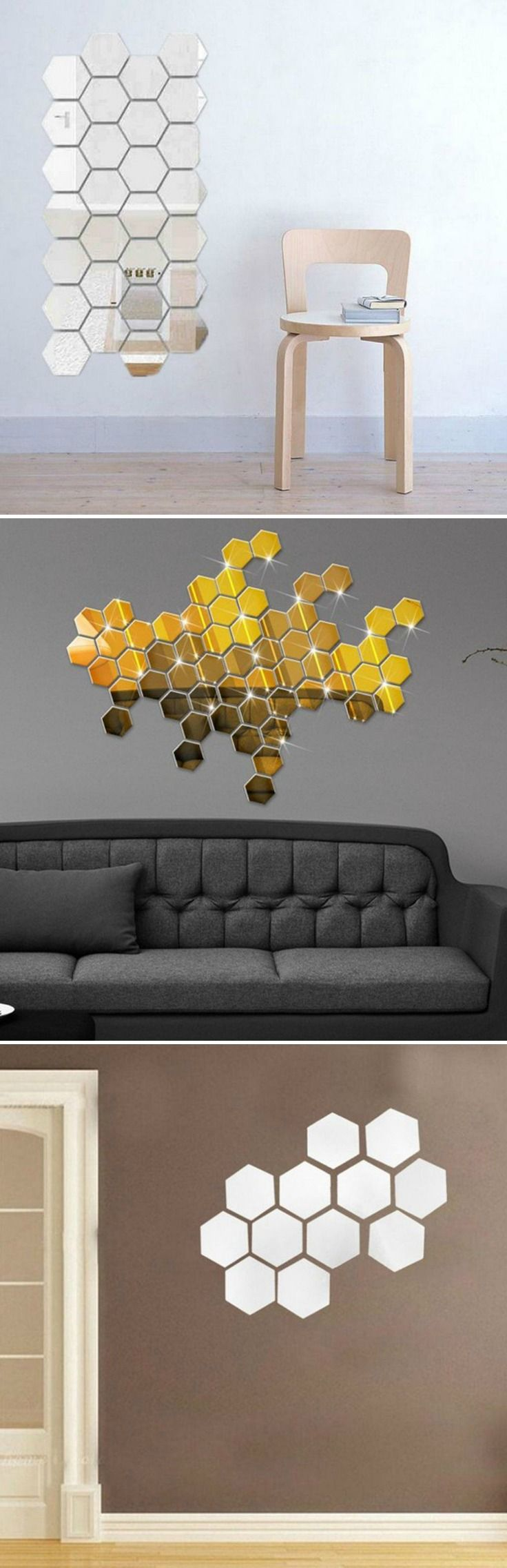 Mirror Hexagon Vinyl Removable Wall Stickers In Golf Silver These Would Make College Dorm