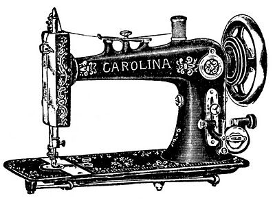 Vintage Clip Art - Antique Sewing Machine & Table - The Graphics Fairy