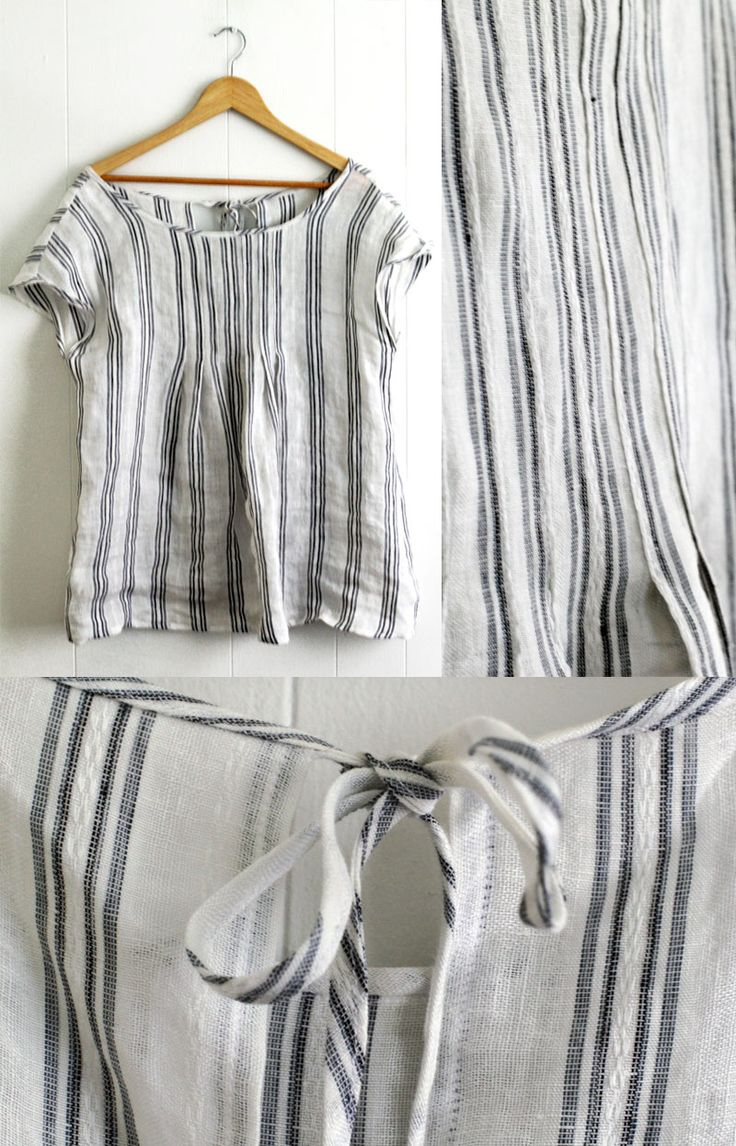 """Striped linen top made from pattern from """"Sweet Dress Book: 23 Dresses of Pattern Arrangement Paperback"""" by Yoshiko Tsukiori"""