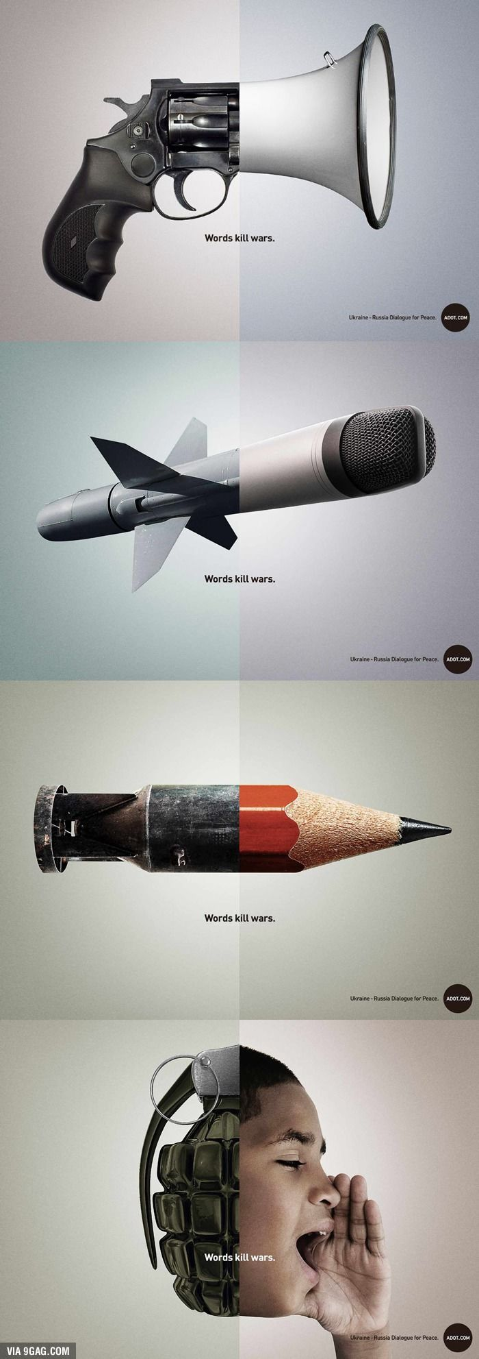This ad promotes talking about issues instead of resorting to violence. It transforms weapons into tools that are used to speak.:
