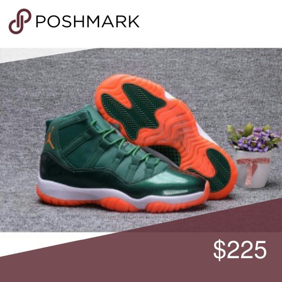 Jordan's 11s Miami Hurricanes Green Patten leather orange sole limited  edition Air Jordan Shoes Sneakers