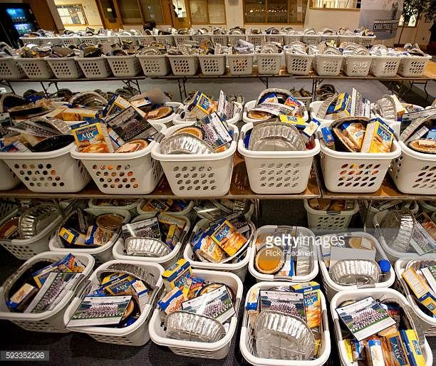 Thanksgiving food baskets to be distributed to individuals from Goodwill's job training and youth programs at Goodwill Memorial Industries in Boston...
