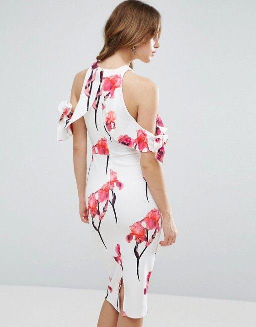 ASOS Cold Shoulder Textured Bow Floral Midi Dress