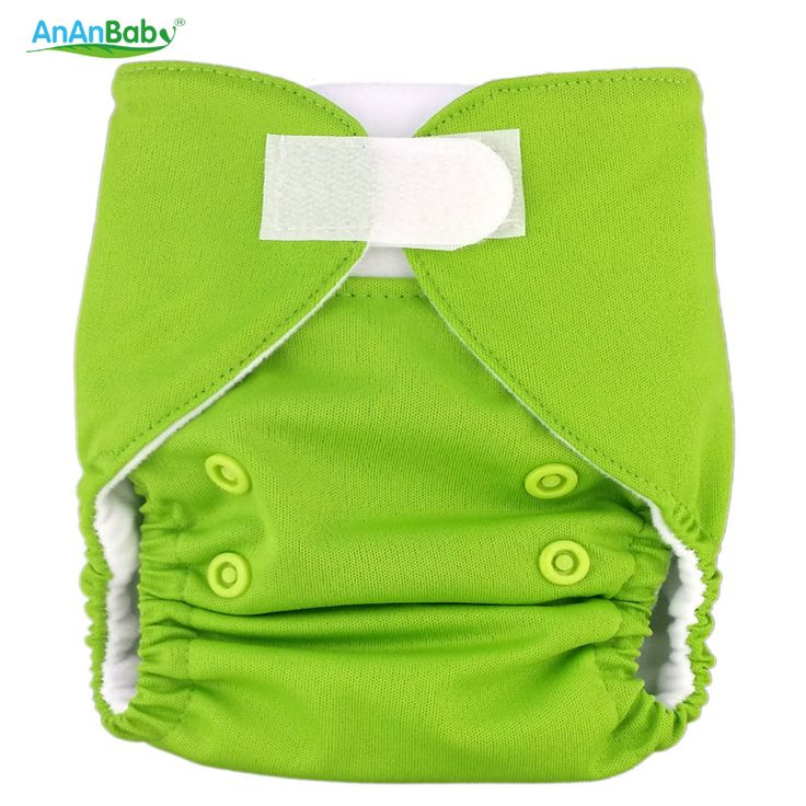 Plain Color AnAnBaby 1pcs Hook And Loop Fastener Cloth Diaper Newborn With Inserts Diapers Cover Fit 0-3 Month Baby