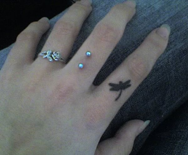 52 Dragonfly finger tattoo