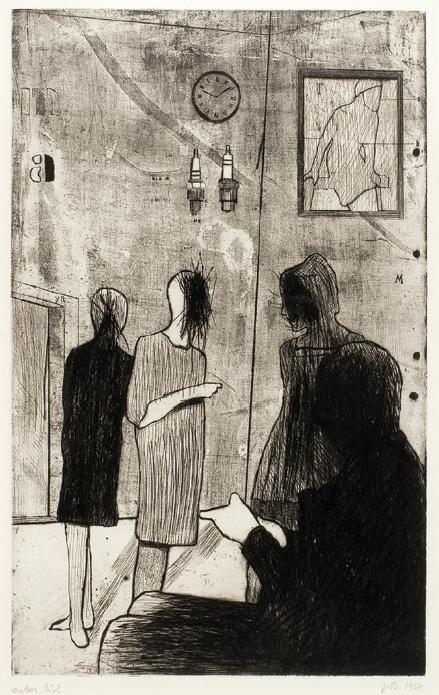 Jiří Balcar: Společnost II. (Pod hodinami) / 1968 / suchá jehla, lept na papíře / 49,5 x 32 cm