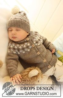 "Set comprises: Knitted DROPS jacket with raglan sleeves and turtle neck, hat with pattern and socks with pattern in ""Merino Extra Fine"". ~ D..."