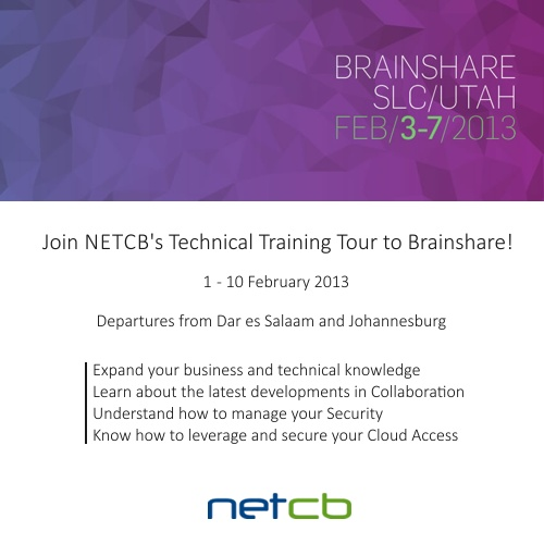 Please RSVP and share the NETCB's Technical Training Tour to BrainShare 2013!