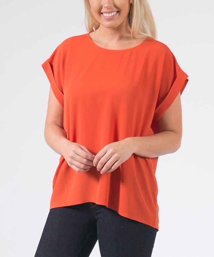 Burnt Orange Short-Sleeve Top