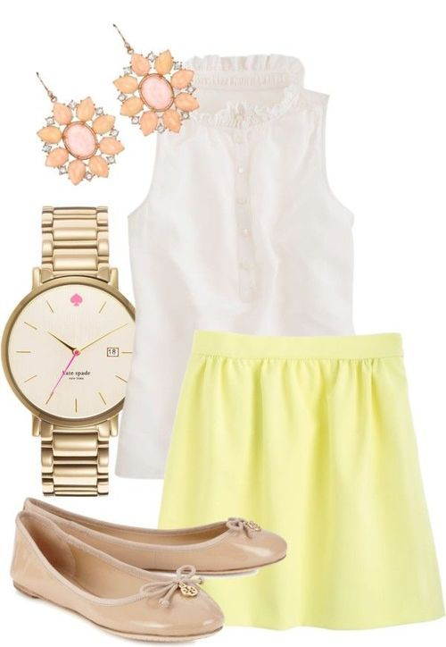 nice light yellow skirt outfit 8