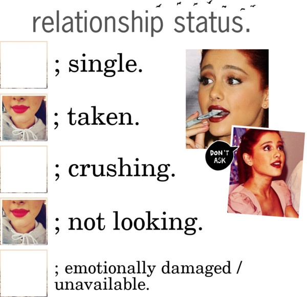 """Relation ship status updatee"" by ariana-grande-butera-anonymous ❤ liked on Polyvore"