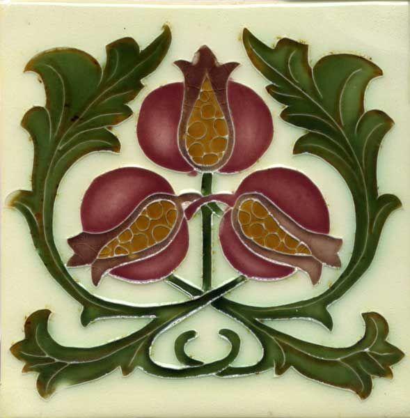 """Tile V73C - Reproduction Art Nouveau Tile  - porteous nz - Tiles are aprox. 150mm x 150mm (6"""" x 6"""") or 150mm x 75mm (6"""" x 3"""")."""