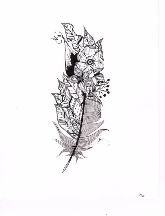 Feather illustration, tattoo idea, customizable