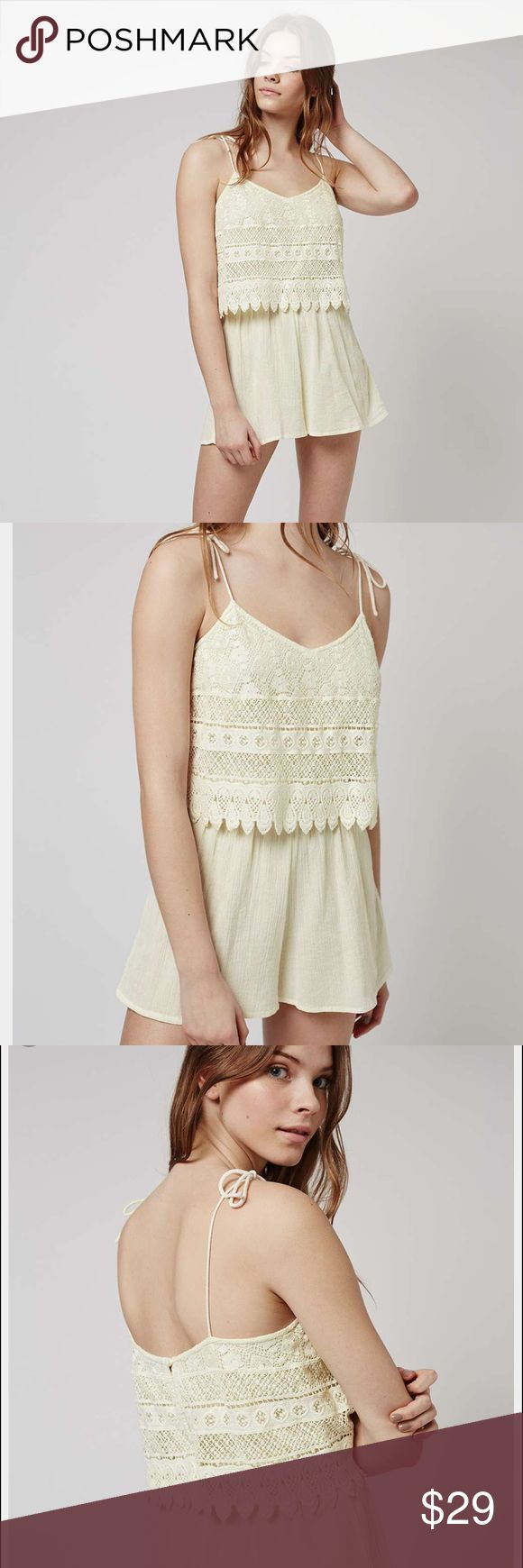 Topshop Crochet Romper Catch the sun in this soft cream playsuit. Crafted from a soft crepe jersey, we adore the pretty crochet trim overlay. Featuring a flowing silhouette and delicate tie-up straps it's perfect for complimenting sun-kissed skin. 100% Cotton. Machine wash. Topshop Pants Jumpsuits & Rompers