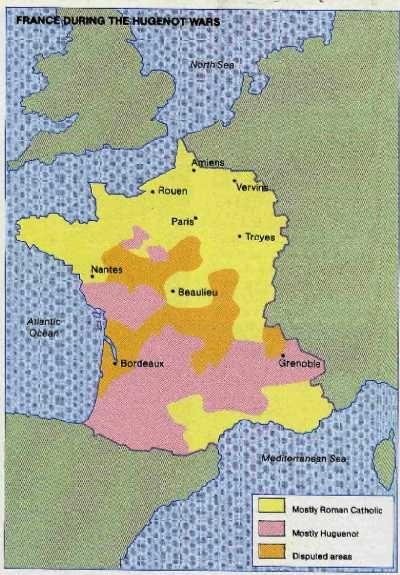 Map, Huguenot Wars of France