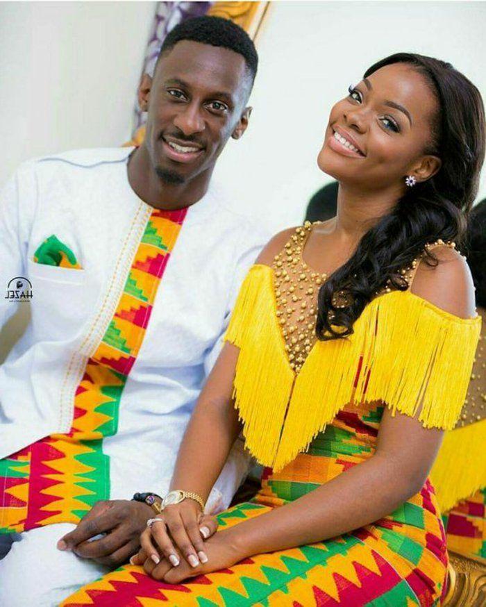 robe africaine wax, costumes de femme et d'homme colorés en jaune et blanc