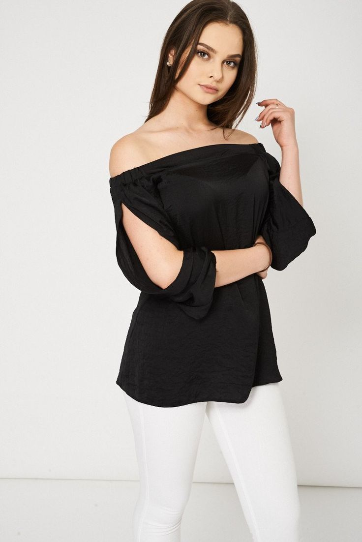 Black Bardot Top With Open Sleeves Ex-Branded Available In Plus Sizes