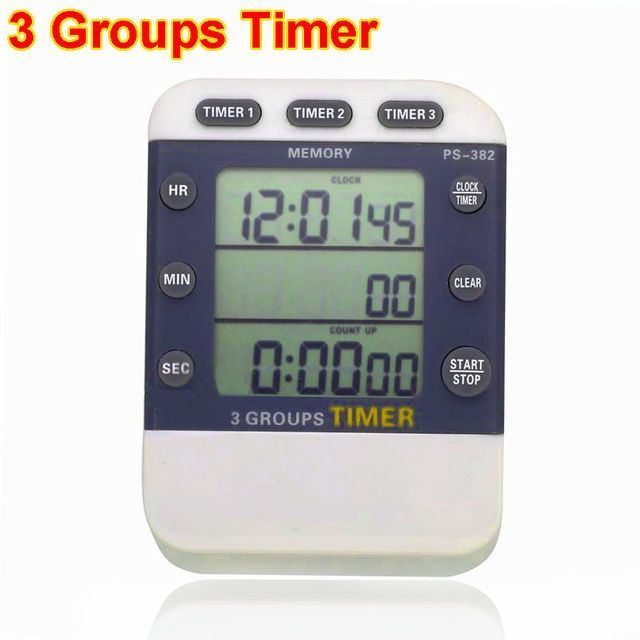Triple Event Timer Digital Lcd 99Hours Countdown Stopwatch 3 Groups Timer