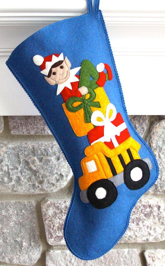 Handmade Wool Felt Christmas Stocking: Baby Boy's by MyPerennial