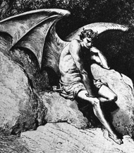 Satan watches the happy Adam and Eve in disgust, terribly envious of the joy he once knew in Heaven. He is also extremely jealous of human love that angels nor demons are capable of having. For all this, he hates them bitterly.
