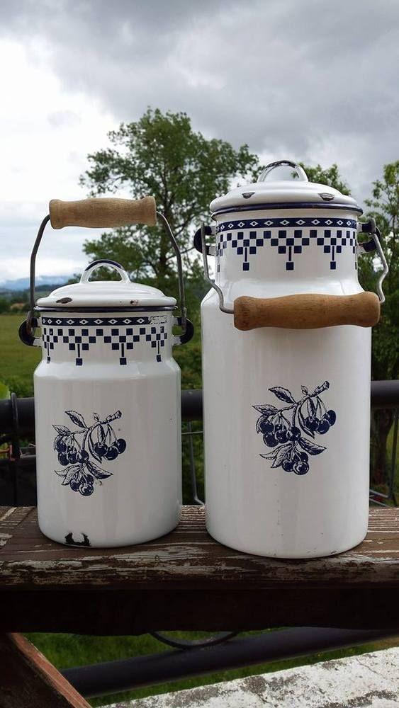 Beautiful Set of 2 Vintage French Enamel Enameled Milk Pot ~ White and Blue