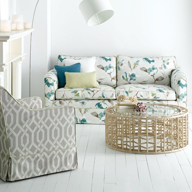 Warwick Fabrics, PRISTINE Collection / colour Spring / shown here with our 100% cotton plain, 'Loft' and geometric 'Vishna'.