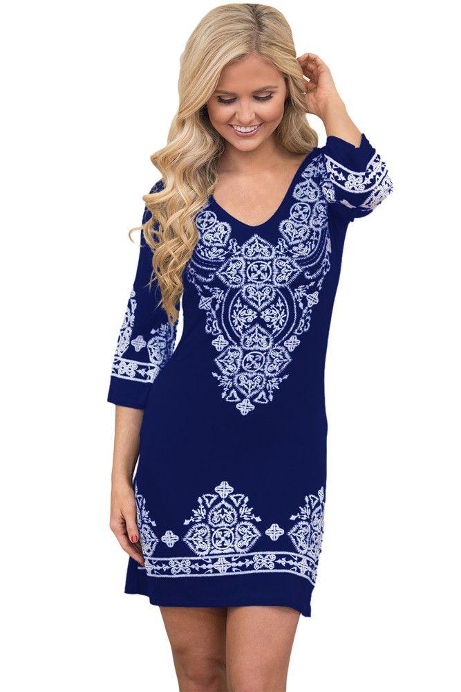 Chicloth Navy Blue Tribal Pattern Short Dress