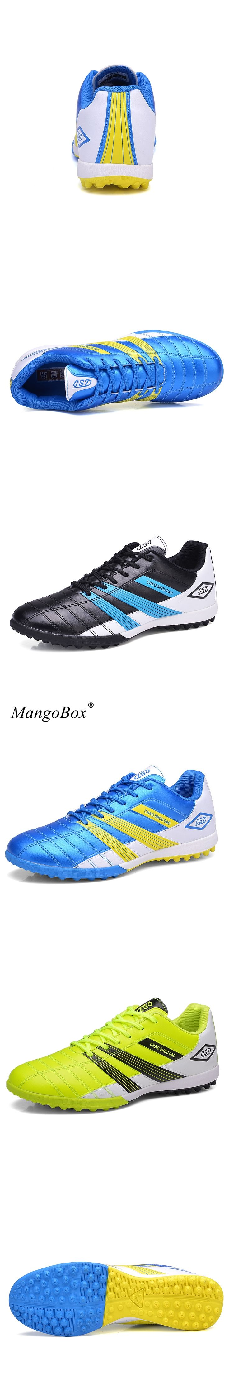 2016 Men Football Shoes Leather Football Boots For Kids Blue Professional Soccer Shoes Non-Slip Football Training Shoes