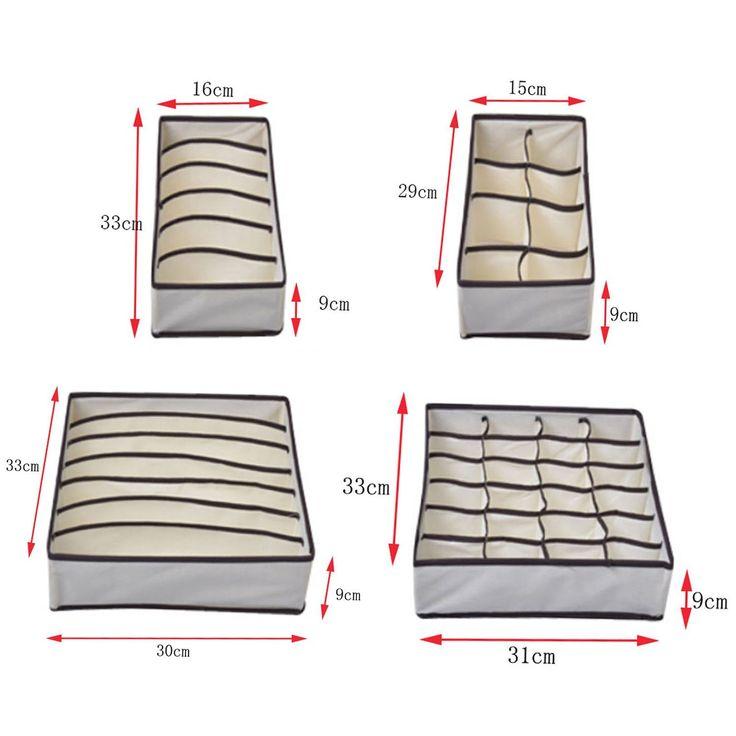 Gosear® 4pcs nontissés sous-vêtements bien rangé pratique boîte chaussettes Shorts tiroir liens sac organisateur pochette de rangement: Amazon.fr: Cuisine & Maison