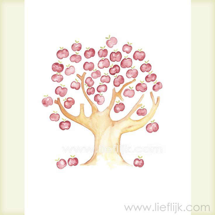 Poster Aquarel Appelboom -- een print van het originele aquarel.  Een afbeelding van een zomerse volle appelboom.  Deze poster is een mooi cadeau voor jezelf of voor een ander.  Je kunt de poster zo ophangen, of inlijsten.  Details: Afbeelding: ca.28 cm x 20 cm Papier: 29,7cm x 21 cm (A4 formaat) Papierdikte: 250gr, mat Prijs: 14,50 Het watermerk wordt vanzelfsprekend niet afgedrukt! http://www.lieflijk.com/product/posters/poster-aquarel-appelboom/